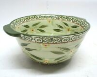 Temptations By Tara Old World Green 1.5qt Mixing Bowl Hand Painted