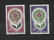 lot de 2 timbres oblitérés 1964 Europa YT 1430 - 1431 (cachet rond)