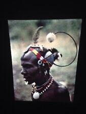 "Pokot Kenya Body Arts ""Elder W/  Lip Plaque"" Tribal Art 35mm Slide"