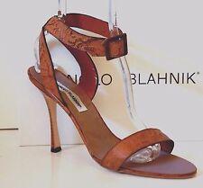 Manolo Blahnik cindellabi verzierter braun Leder Ankle-Strap Sandale High Heel 42