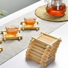 100% Bamboo Wood Trays For Tea Trays 7cm*7cm Creative Word Jing Concave Cup Mat