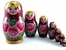 Nesting Dolls Russian Matryoshka Traditional Babushka Stacking Wooden New set 7