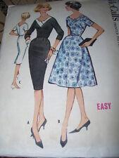 1959 McCALL'S #5110-LADIES GORGEOUS ( 3 STYLE ) DRESS w/BIAS NECKLINE PATTERN 18