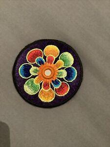 ImZauberwald Flower Power Patch Purple Rainbow (9cm) Beautiful Hippie Embroidery