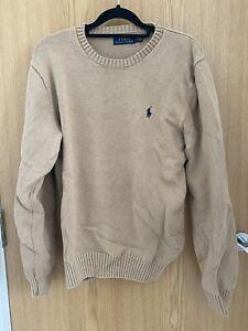 Ralph Lauren Polo Beige Tan Knit Sweater Jumper Mens Medium