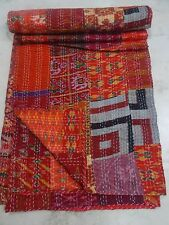 King Quilt Vintage Patola Indian Silk Sari Kantha Multi Patchwork Blanket Throw