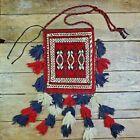 Vtg Handmade Afghan Tribal Carpet Salt Bag Rug Wool Tassels Persian Turkish
