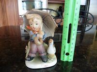 """Vintage ERICH STAUFFER Figurine """"Rainy Days"""" Boy w/ Goose Umbrella 8343"""