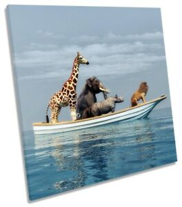 Animals Boat Bathroom Picture CANVAS WALL ART Square Print Blue
