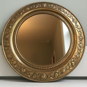 Vintage Mid Century Round Unpolished Distressed Brass Framed Wall Mirror 37cm A
