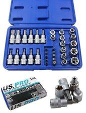 US PRO 34PC Torx Star Socket & Bit Set Male Female Sockets with Torx Bits 3460