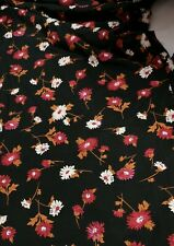 4 Metres red blown white flower floral viscose elastaine dress fabric