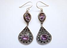 Sterling Silver Natural Amethyst Dangle Earrings