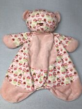 Baby Ganz Sleepytime Bear Lovey Security Blanket Pink Plush Owl Print BG2922