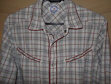 Western Cowboy Shirt SMALL Oxygen Required Rust Gray Tan Pearl Snaps 5w12