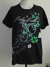 Gildan Lady Luck Black T-Shirt Solid 4 Leaf Clover Sz L Bust 42 NWT