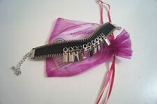 BEJEWELLED JEWELLERY Black Fabric Silver Tone Zipper Pull & Zip Detail Bracelet