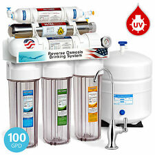 6-Stage 100GPD UV Ultra Violet Sterilizer Reverse Osmosis RO Water System +GAUGE