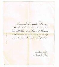 ALEXANDRE DUMAS FILS / SON FAIRE-PART DE MARIAGE AVEC HENRIETTE REGNIER EN 1895