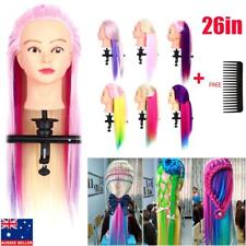 """Hairdressing Training Head Clamp 26"""" Colorful Hair Mannequin Practice Doll AU"""