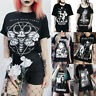 Gothic Punk Women's Witch Skull Print Short Sleeve T-shirts Tops Tees Halloween