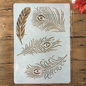 1PC Peacock Feather Layering Plastic Stencil Template For DIY Scrapbooking Photo