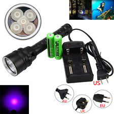 Underwater 100M 5X XPE UV Light 395nm LED Scuba Diving Flashlight Torch 18650