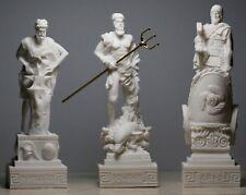 3 Greek Roman Gods Poseidon Ares Hephaestus Statue Sculpture Figurine Set