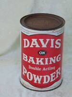 "antique old vintage tin litho DAVIS BAKING POWDER TIN CAN large 5 lb 7 3/4"" tall"