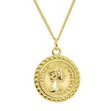 18K Gold Plated Sterling Silver Queen Elizabeth Coin Medallion Pendant Necklace