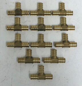"""LOT of 12 NEW Zurn Pex Tee 1/2"""" Barb x 1/2"""" x 1/2"""" Brass Crimp Fitting # 49T333X"""