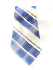 NWT CALVIN KLEIN MEN'S NECKTIE BLUE/WHITE CHECKED 100% SILK 57X3 FREE SHIPPING