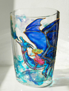 Hand painted dragon mug, fairy tale orname, stained glass, painting colorful cup
