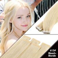 Tape in Remy Human Hair Extensions Virgin Blonde Hair PU Skin Weft Full Head