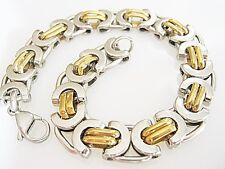 Bracelet Massif Acier Inoxydable Plaqué or pour Hommes Gourmette Cadeau
