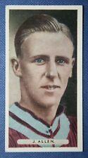ASTON VILLA    Allen   Original 1930's Vintage Colour Footballer Card