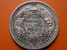 """George VI King Emperor One Rupee """"1945"""" Lahore Mint Original Silver Coin"""