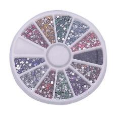 12Colors 500Pcs 2.0mm Glitter Tips Rhinestones Gems Round Wheel Nail Art Decor A