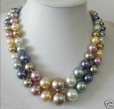 Beautiful 2 Row 8-14mm South Sea Multicolor Shell Pearl Necklace