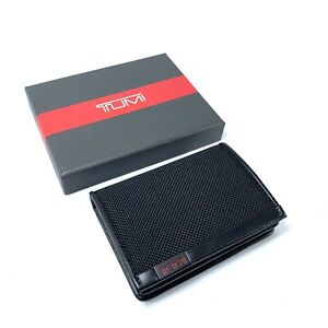 Tumi Alpha SLG Gusseted Card Case Black Ballistic Nylon Leather Trim