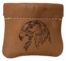New Leather American Bald Eagle Head Squeeze Coin Pouch Change Purse USA Made