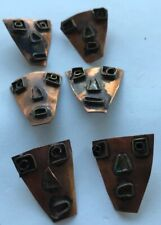 6 Vintage Mexican Handmade Copper & Brass Shank Buttons Crafts Artisan