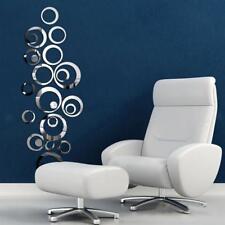 24x Stickers Muraux Cercle Miroir Autocollant Amovible pour DIY Maison Salon