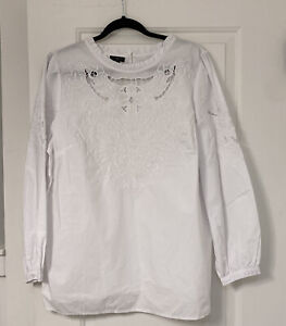 Nwt Talbots 2X White Print Long Sleeve Embroidery Blouse