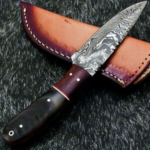"""CUSTOM HAND FORGED DAMASCUS STEEL 8.0"""" SKINNING CAMPING KNIFE- RAM HORN WD-6024"""