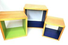 """Floating Cube Shelves 3 Piece Set 9"""" Wooden Blue Green Wall or Freestanding"""
