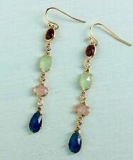NWT ANTHROPOLOGIE PRECIP GOLD FINISH NATURAL MULTI STONE DROP EARRINGS