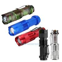 Tactical 7W 1200lm CREE Q5 LED SA3 Zoomable Mini Flashlight Torch Lamp Outdoor