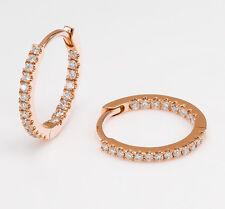 Womens Diamond Micro Pave Mini Huggie Hoop Earrings 18k Rose Gold 1.1g .24 TCW