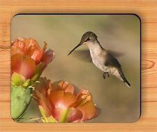 BIRD HUMMINGBIRD FLY OVER FLOWERS MOUSE PAD -skl9Z